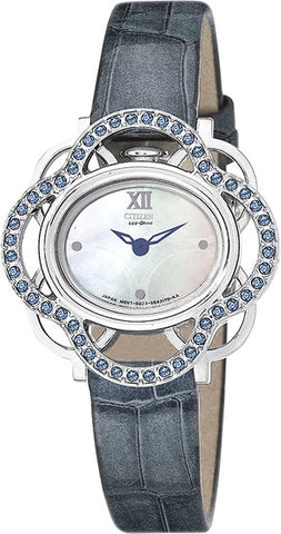 Citizen Women's Watch Lobella Blue Crystal Flower Leather Strap EW8971-11D