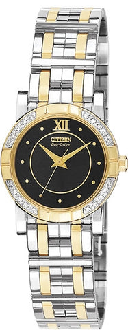 Citizen Women's Watch Two Tone Stainless Steel Elektra with Black Dial EP5544-55E