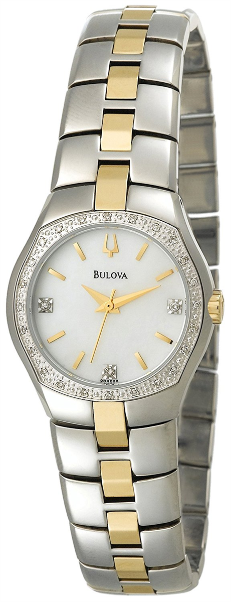 Bulova 98R008 Ladies Watch Two Tone Stainless Steel Dress Mother Of Pearl Dial Diamonds