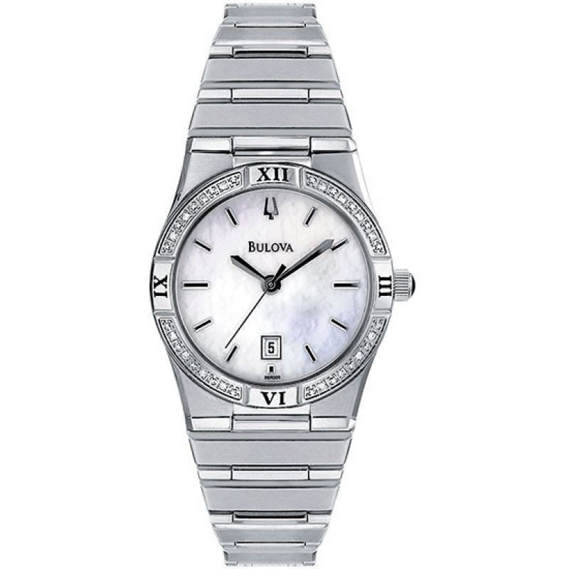 Bulova 96R009 Ladies Watch Stainless Steel Windemere Mother of Pearl Dress Watch with Diamonds