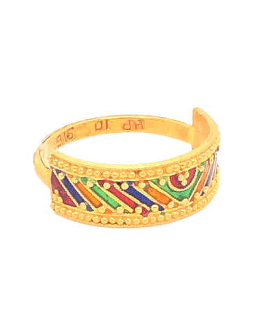 Gold Enamel Ring 22 Karat