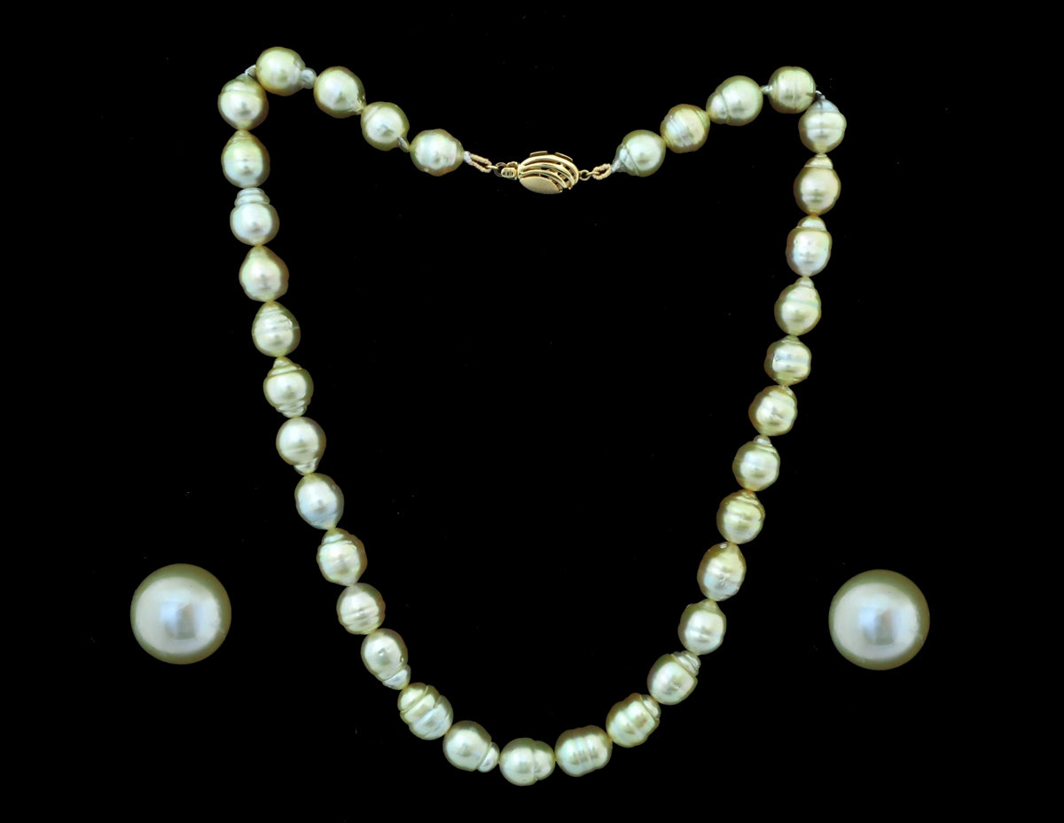 Gold Pearl Necklace with Earring - 22 Karat