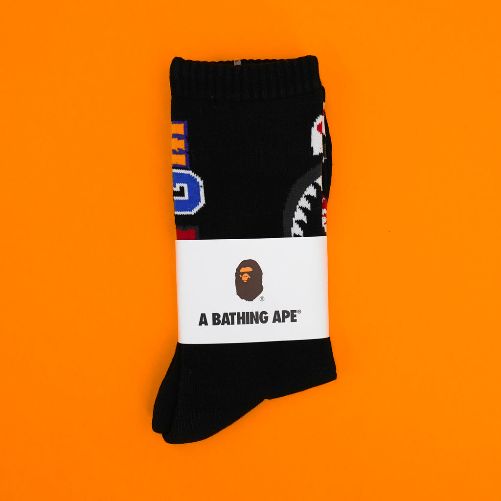 "A Bathing Ape "" Shark Socks"" Black"