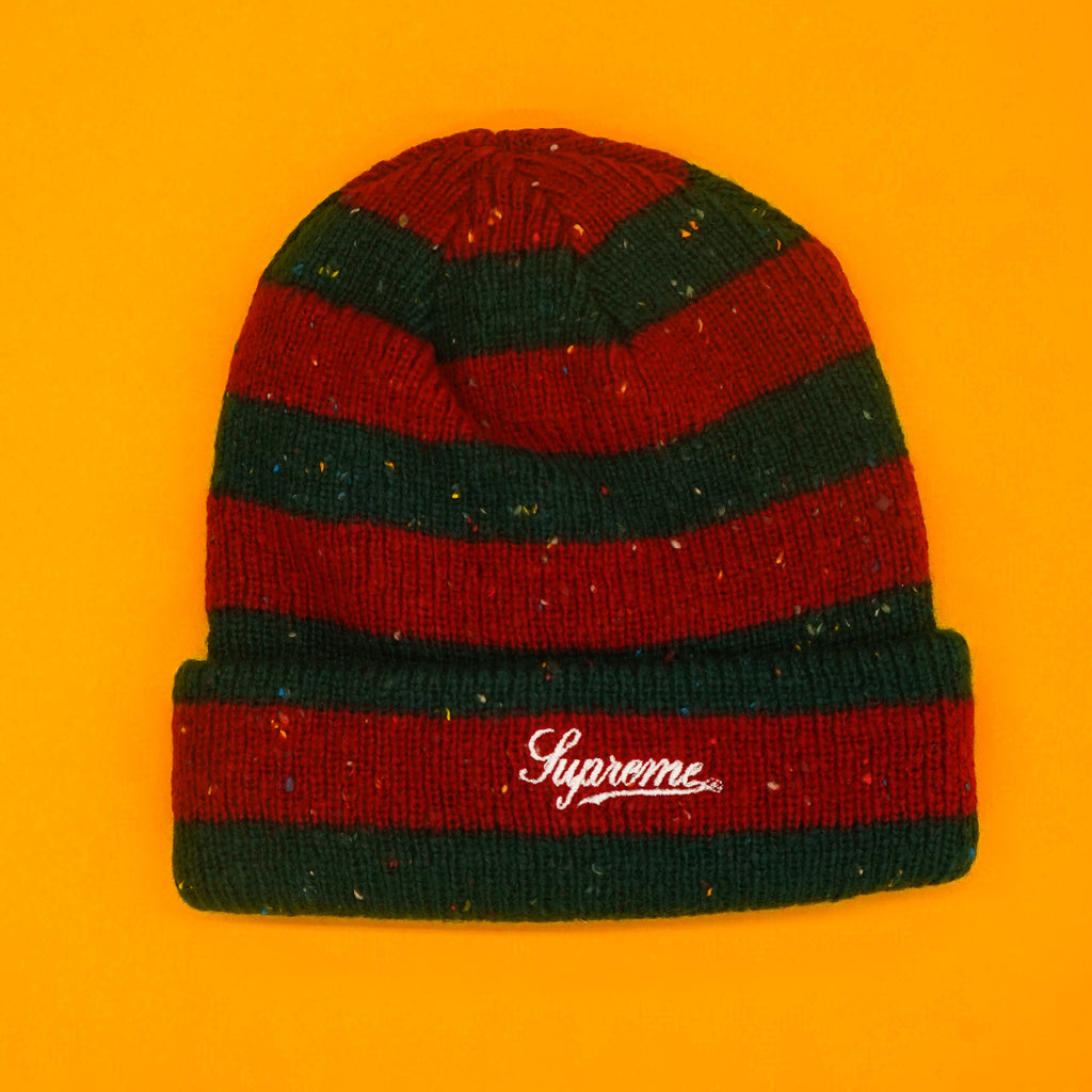 Supreme striped speckle beanie