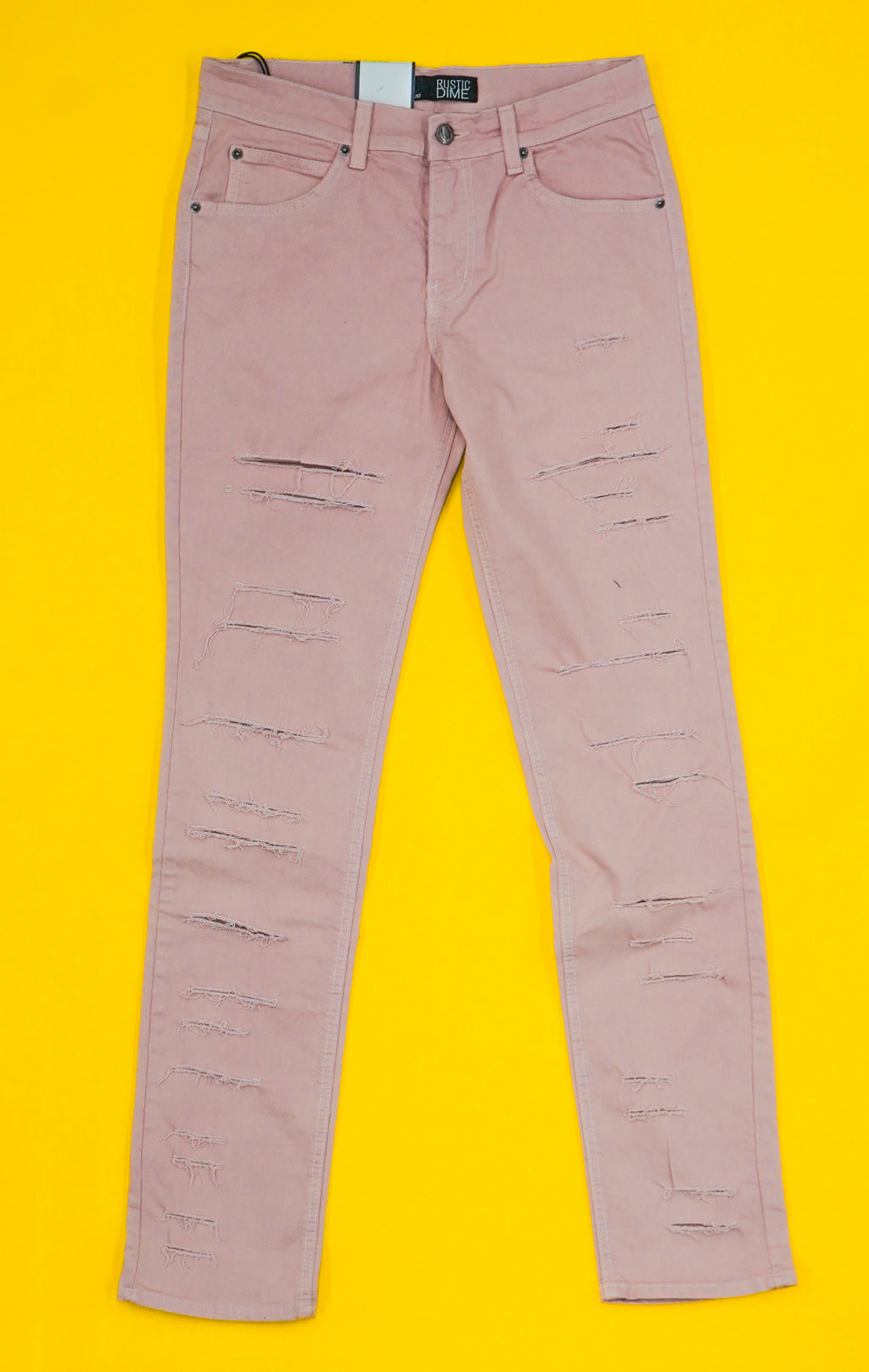 Distressed Taper Fit ( Dusty Pink )