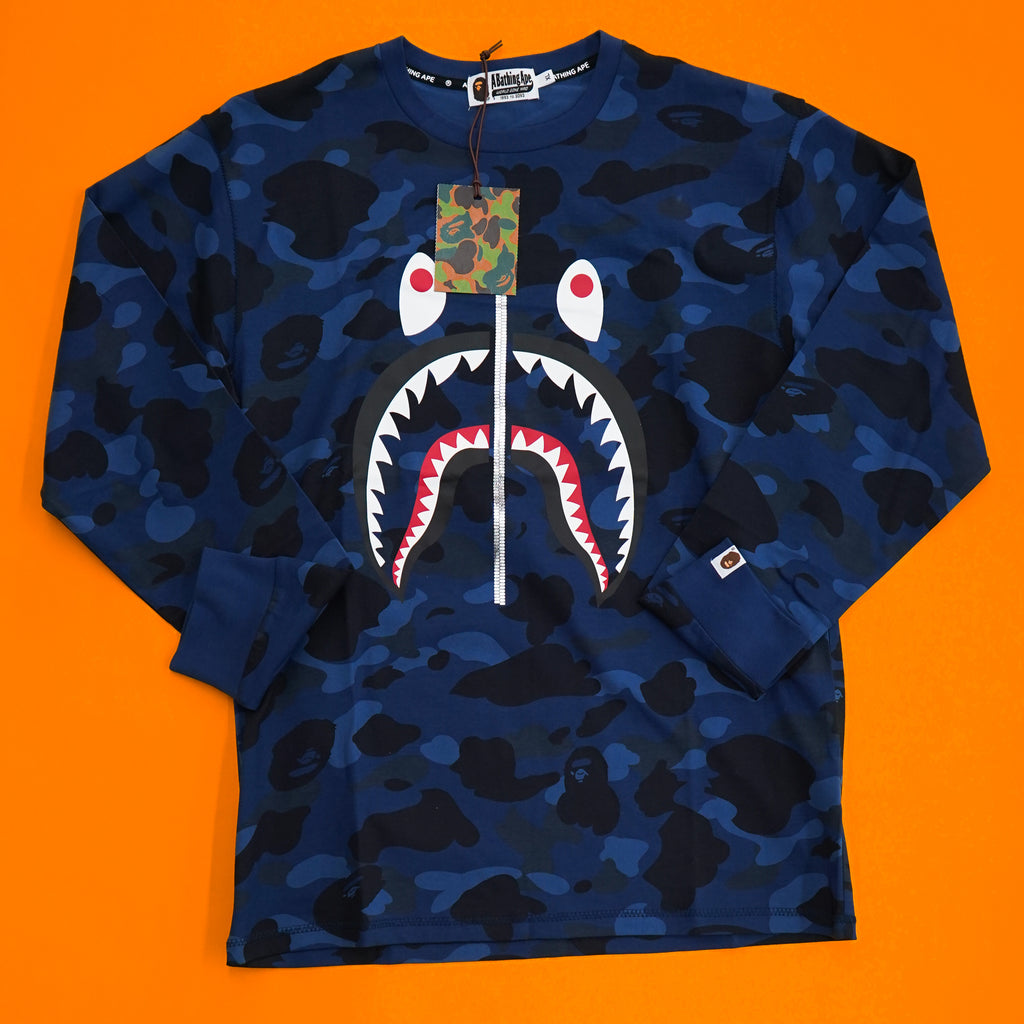 "A Bathing Ape "" Shark Camo"" Long Sleeve Tee"