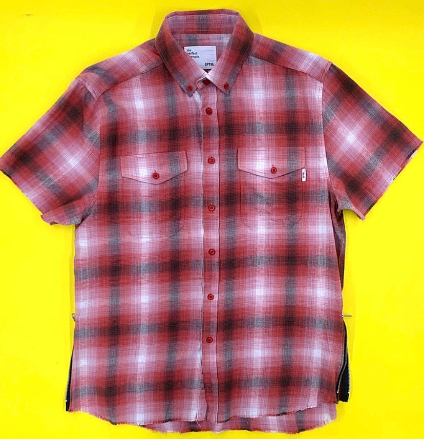 Short Sleeve Plaid Zip Tee