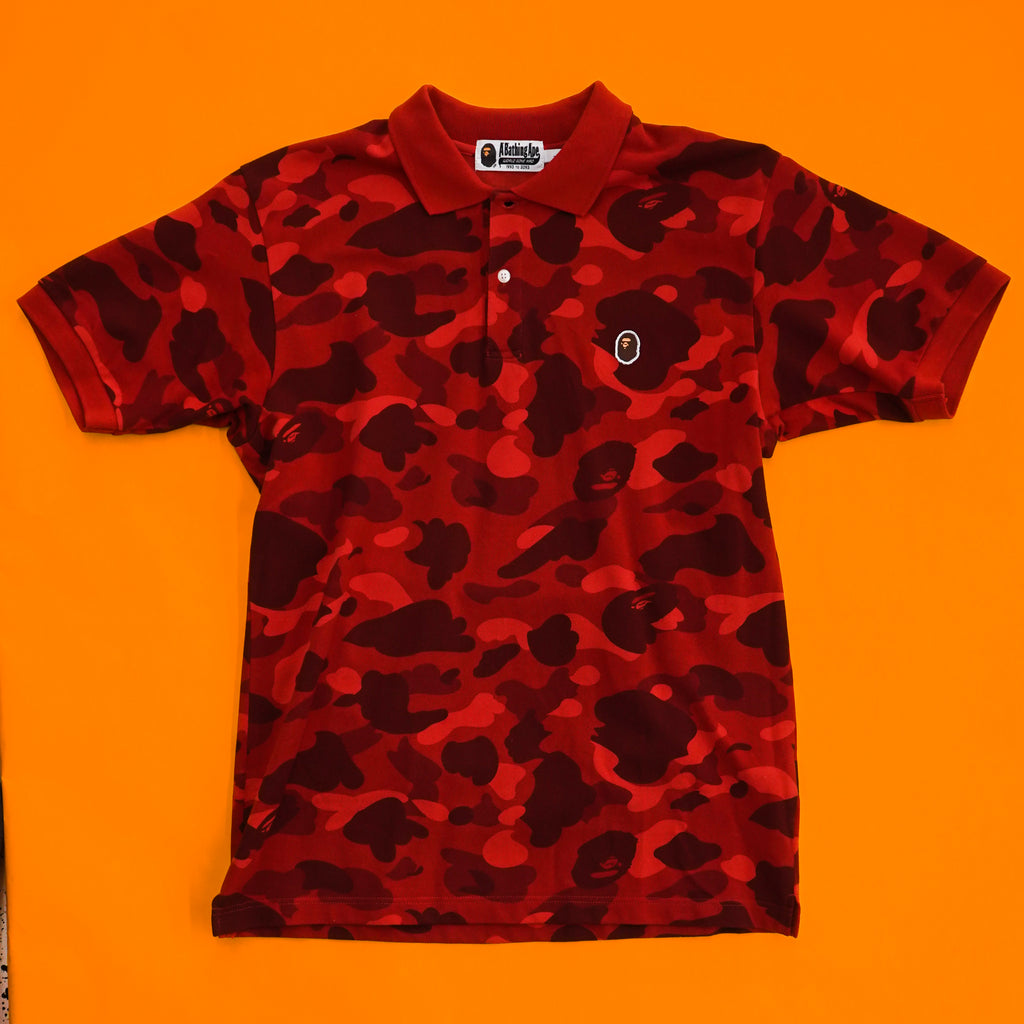 "A Bathing Ape "" Red Camo"" Polo"