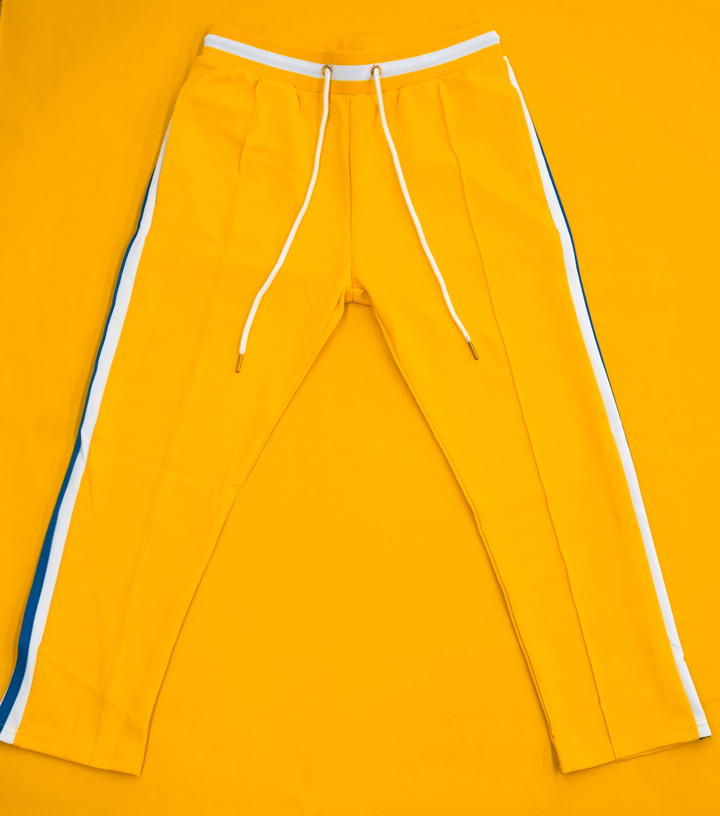 Yellow Pleated Track Pants
