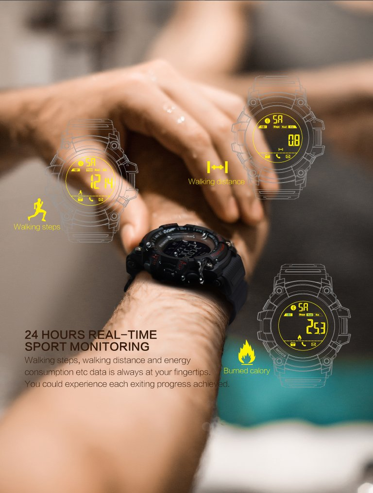EX16 Sport Smart Watch, Bluetooth 4.0 IP67 Waterproof Sports Wristwatch Pedometer Call SMS Reminder Remote Control Luminous Dial Watch for Android iOS