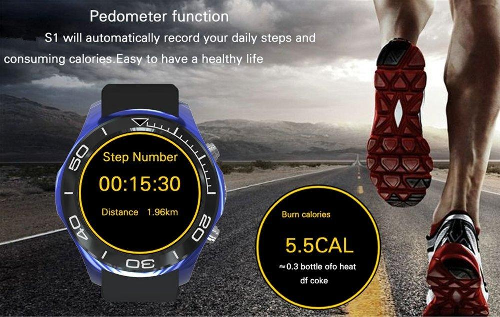 S1 Smart Watch With SIM Card Bluetooth App Sync Sport Pedometer For Android IOS Smartphone (black)