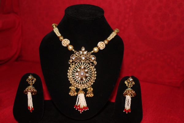 ZAI Fashion -Multicolour Alloy Pearl & Stone Necklace Set For Women + Free Pair of Earrings of Worth INR.199/-