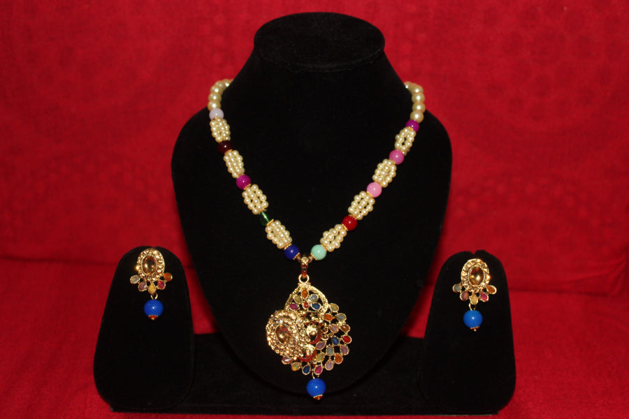 ZAI Fashion - Gold Plated Pendant with pearl  Mala Long Necklace