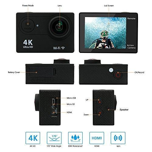4K ACTION CAMERA WITH WATERPROOF CASE