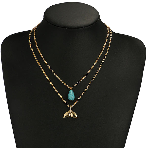 Layered Gold and Turquoise Mermaid Necklace