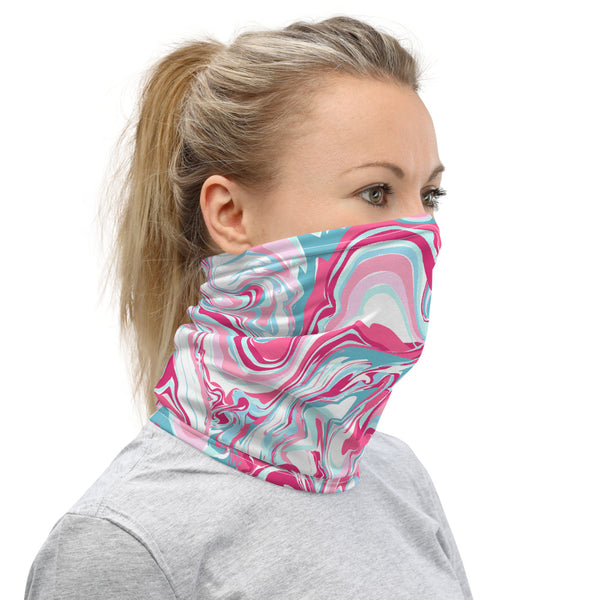 Pink Marble Neck Gaiter/ Face Mask