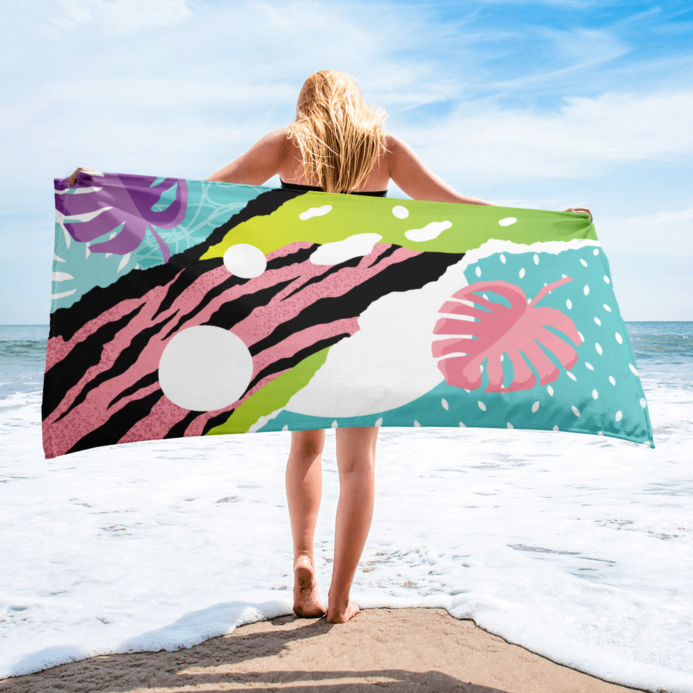 Retro Pink Zebra Towel