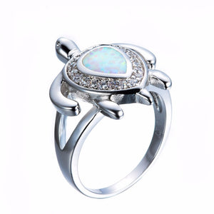 White Fire Opal Turtle Ring