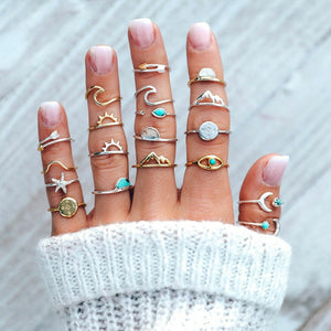 19 Pc Set Boho Women Rings Set