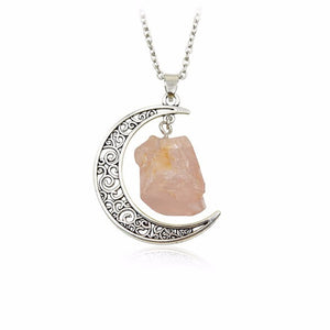 Crescent Moon with Natural Stone/Crystal Pendant