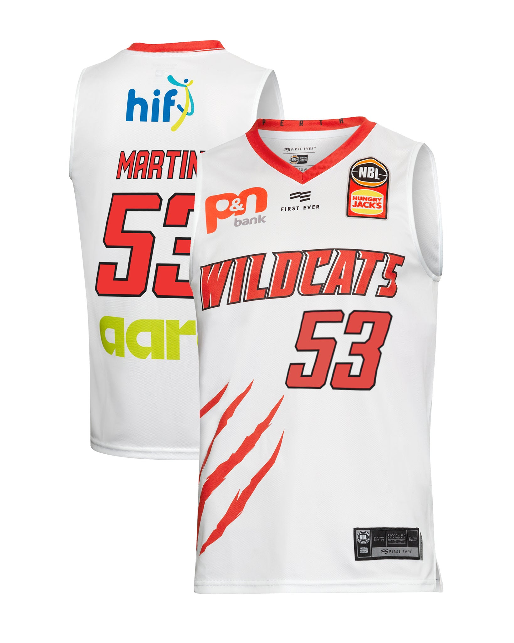 Perth Wildcats 19/20 Authentic Away Jersey - Damian Martin