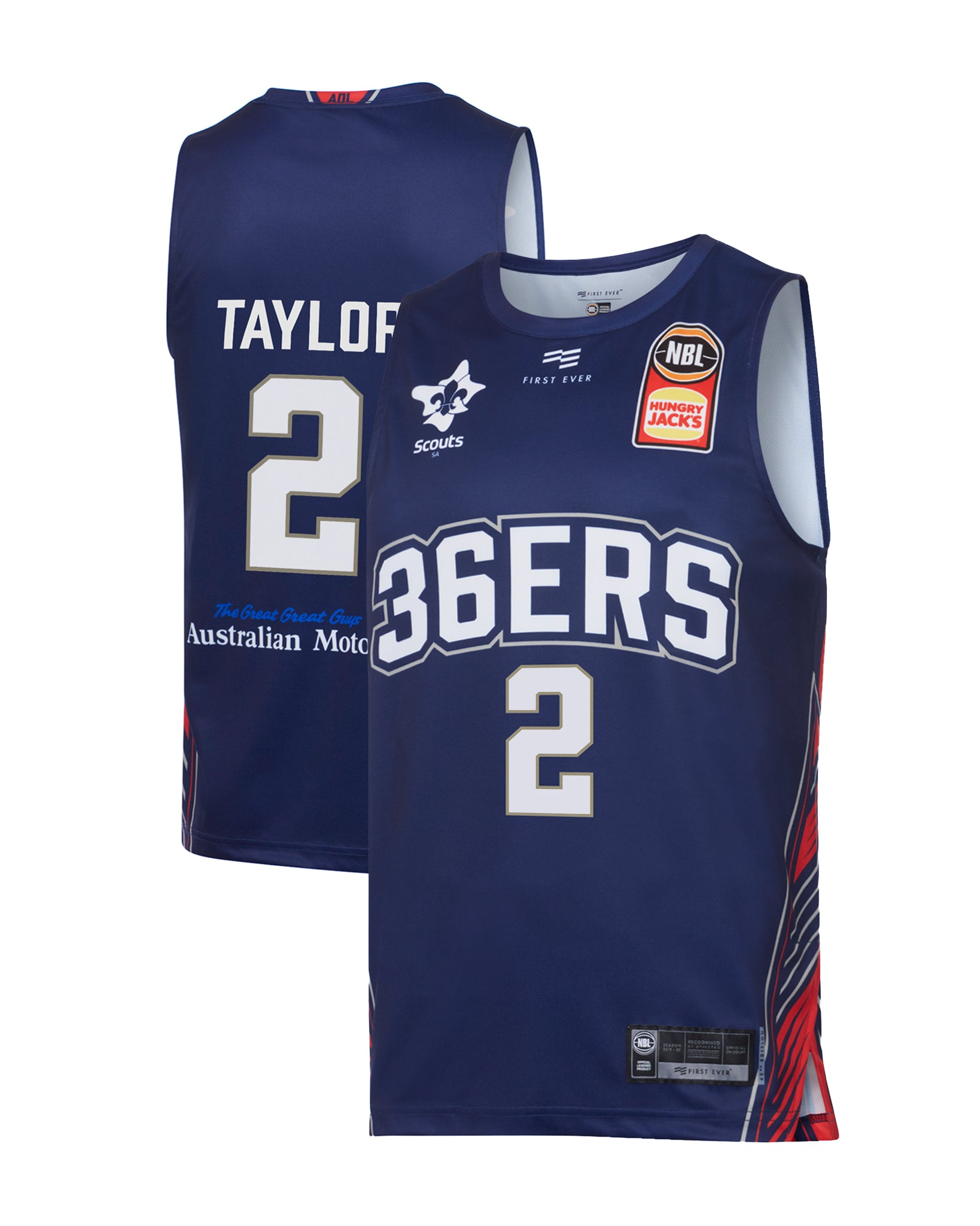 adelaide-36ers-19-20-authentic-home-jersey-deshon-taylor - Front and Back Image