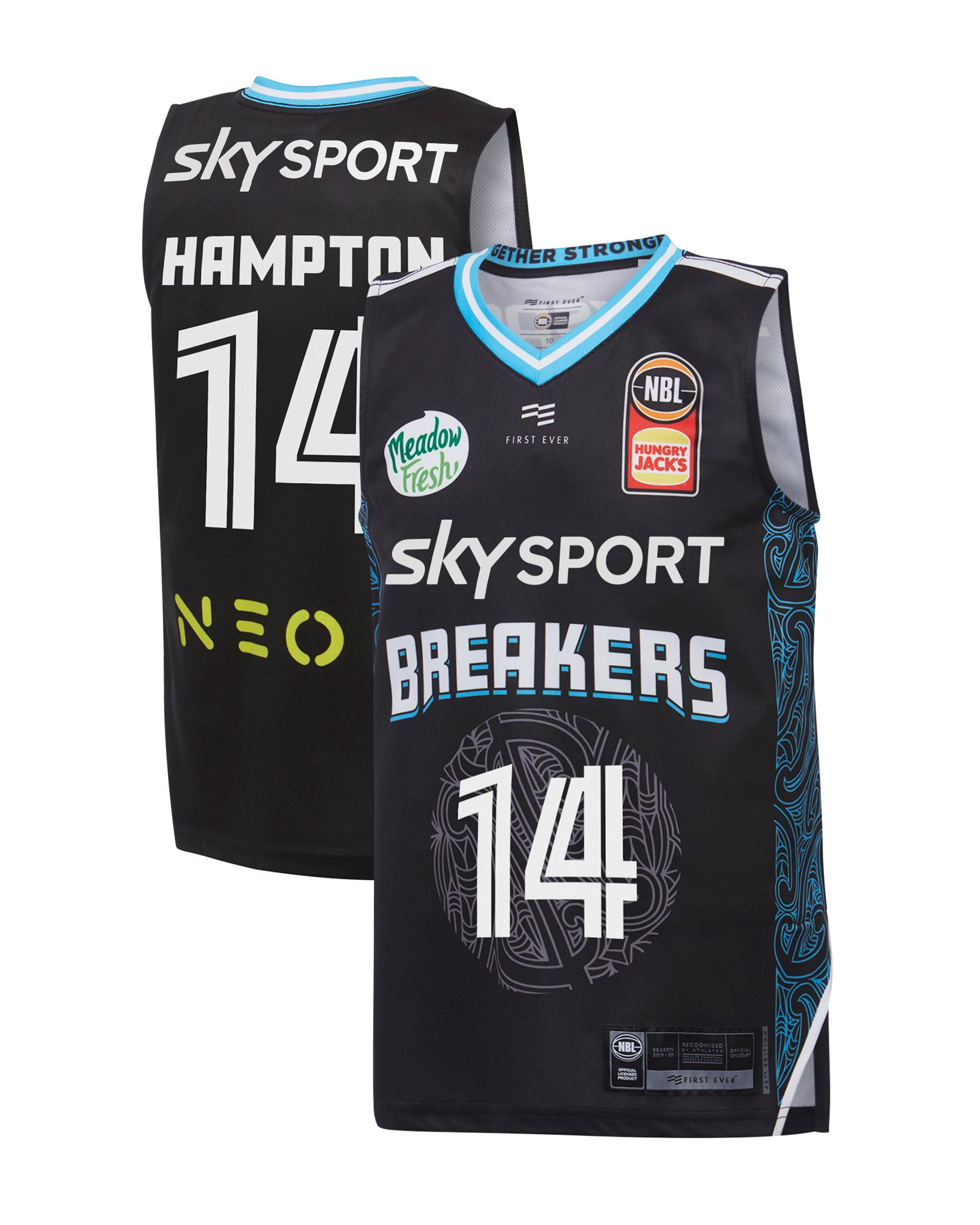 new-zealand-breakers-19-20-youth-authentic-home-jersey-rj-hampton - Front and Back Image
