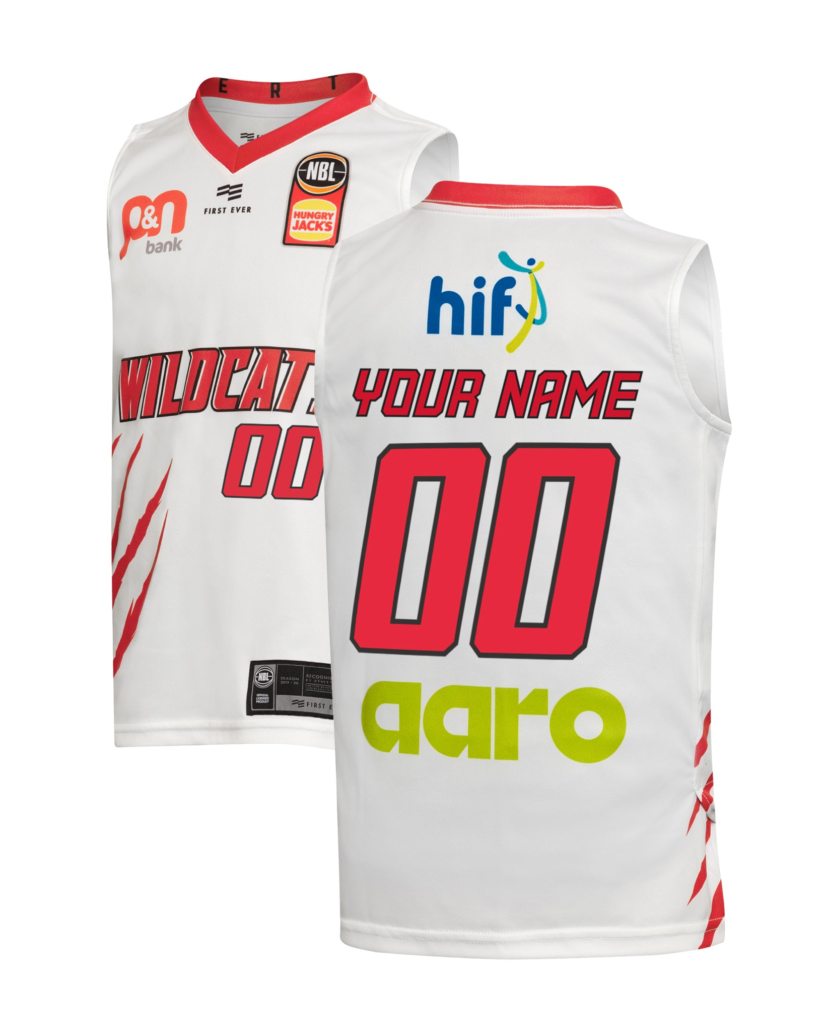Personalised Perth Wildcats 19/20 Youth Authentic Away Jersey