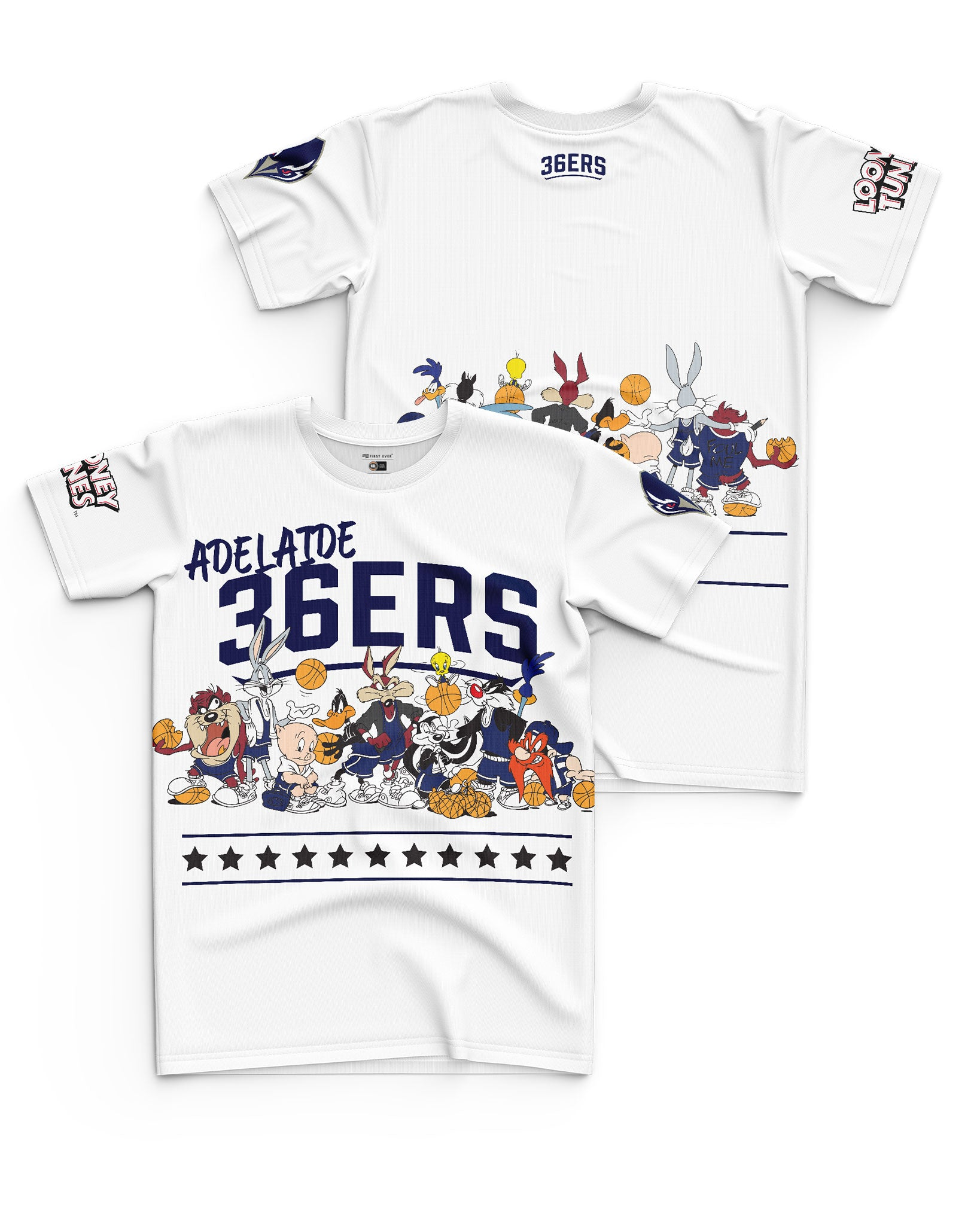 Adelaide 36ers 20/21 Looney Tunes Youth Squad Tee - Personalised