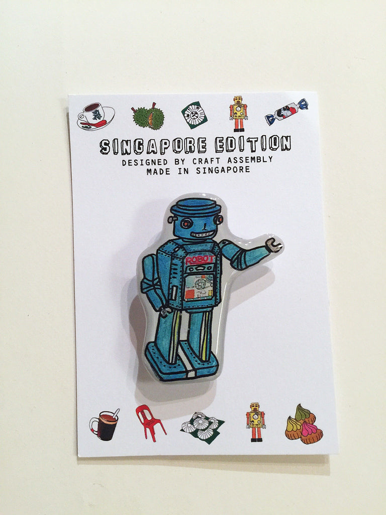 Singapore Themed Brooch - Blue Tin Robot