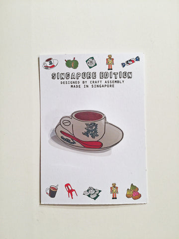 Singapore Themed Brooch- Kopi
