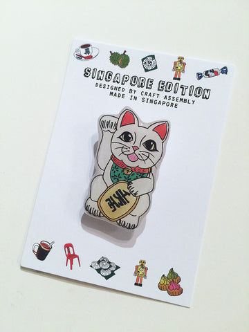 Singapore Themed Brooch - Fortune Cat