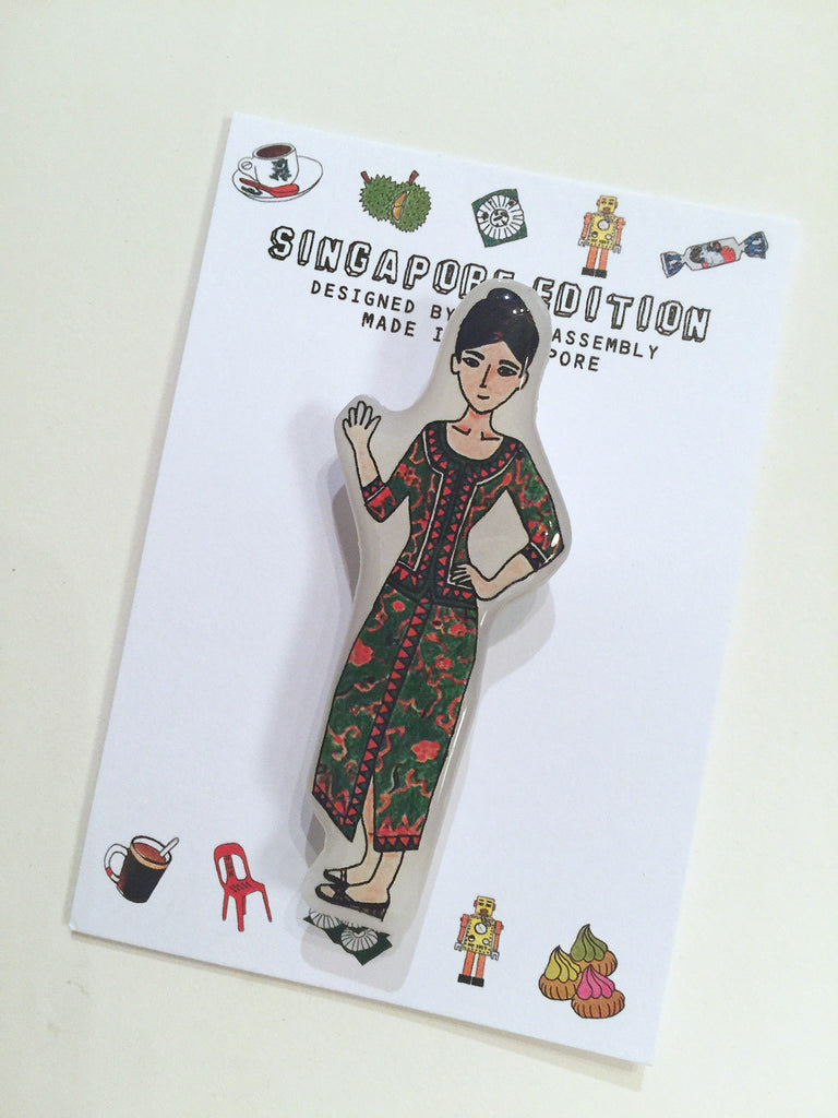 Singapore Themed Brooch - Singapore Girl