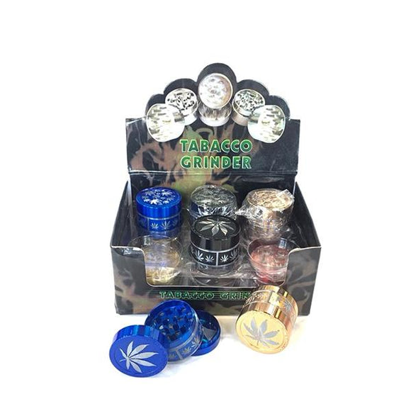 3 Parts Leaf Print Metal Grinder - CBD VAPE 1