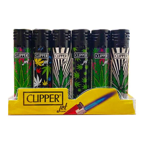 24 Clipper Refillable Jet Printed Leaf Lighters  - CKJ11R