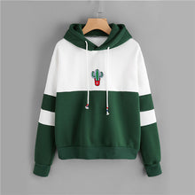 Load image into Gallery viewer, Ladies Casual Sporty Pullovers Sweatshirt Dropshipping Drawstring Color Block Cactus Embroidered Hoodie SpringAutumn Long Sleeve