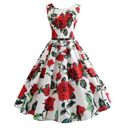 2019  women's clothing collar rose printing posed dress
