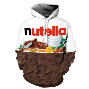 Lyprerazy Women/Men Hoodie Print Nutella Food Hip Hop Casual Style Tops New Fashion Brand Pullovers 3D Sweatshirts Hoodies