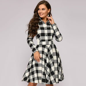 Elegant Plaid Dress Women Turn-down Collar Long Sleeve Knee-Length Dress Female Sashes Vintage Autumn Office Lady Dress vestidos