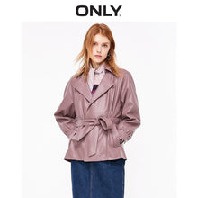 Load image into Gallery viewer, ONLY Women retro loose waist PU jacket short Belted Winter Coat | 1191PU506