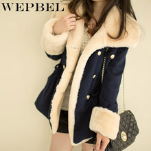 Load image into Gallery viewer, WEPBEL Winter Warm Coats Women Wool Slim Double Breasted Wool Coat Winter Jacket Women Fur Women's Coat Jackets