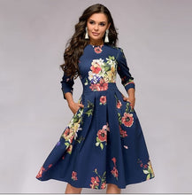 Load image into Gallery viewer, Autumn and winter ladies retro long-sleeved dress floral print slim dress prom party evening multicolor elegant print dress