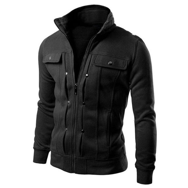 Long sleeve jacket fashion Men Jacket Coat Plus Size Men Jacket Solid Color Stand Collar Long Sleeve Streetwear Winter Jacket
