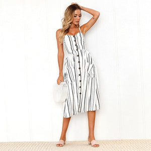 2019 Sexy Backless Floral Print Beach Summer Sexy Dress Casual Strap Button V Neck Red White Black Midi Dresses Sundress Female