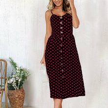Load image into Gallery viewer, 2019 Sexy Backless Floral Print Beach Summer Sexy Dress Casual Strap Button V Neck Red White Black Midi Dresses Sundress Female