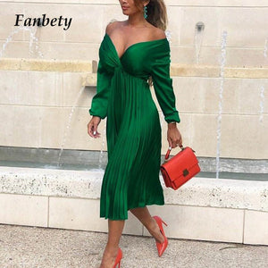 Fanbety Elegant Fit And Flare Pleated Satin Dress Women 2019 Autumn Sexy Off Shoulder Long Sleeve dress Lady Casual party dress