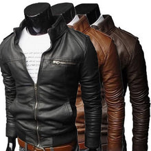 Load image into Gallery viewer, Men Cool bomber Jackets men jacket winter Collar Slim Fit Motorcycle Leather Jacket Coat Outwear streetwear