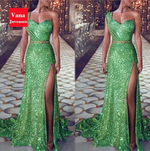 Load image into Gallery viewer, Vana Javeasen Elegant Sexy One-Shoulder Women Dress Sequined High Waist Long Dresses Summer Evening Party Trumpet Womens Dress