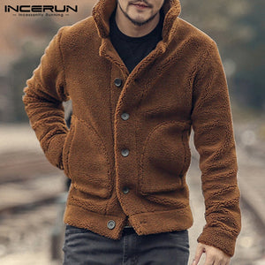 INCERUN Men Fleece Jackets Coats Streetwear Long Sleeve Solid Lapel Outerwear Button Up Fluffy Fashion Winter Plush Overcoats 7