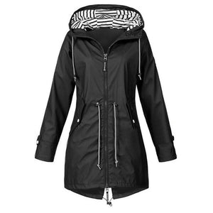Women Windproof Long Hooded Jackets Waist Tightening With Zip Thin Outwear Multi Color Autumn Winter Coats Sporting Outdoor Coat